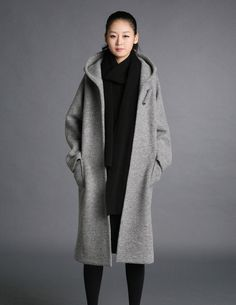 Grey wool hoodie coatmore colour and size choice by FashionColours
