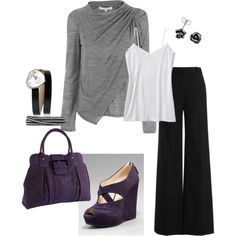 I really like the drapey shirt, and for some odd reason really like these shoes! and of course the purse because it's purple
