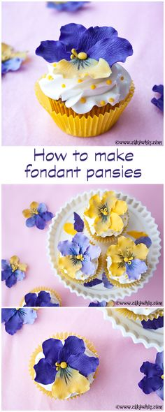 Spring cupcakes with EDIBLE fondant pansies. TUTORIAL included! From cakewhiz.com