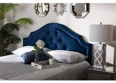 Baxton Studio Cora Modern and Contemporary Navy Blue Velvet Fabric Upholstered Full Size Headboard Navy Headboard, Queen Size Headboard, Velvet Headboard, Headboard Ideas, Blue Velvet Fabric, Baxton Studio, Navy Blue, Royal Blue, Beautiful Curves