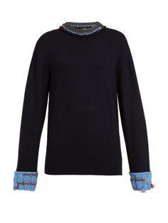 Crochet-trimmed round-neck sweater