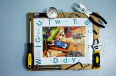 A fun #diy #frame for #FathersDay http://projectnursery.com/projects/fathers-day-diy-baby-mechanic-tool-frame/