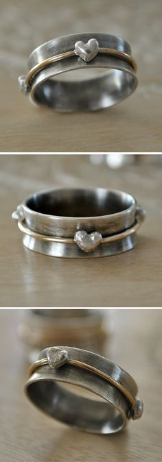 Sterling Silver and 14k Gold Filled Spinner Ring by Belle Boheme Jewelry