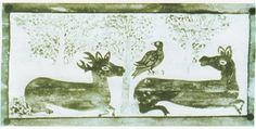 Noszvaji templom kazettás mennyezetén egy másik madár-szarvas kettős hasonló tartalommal Ancient Symbols, Moose Art, Creatures, Hungary, Animals, Google, Animales, Animaux, Animal