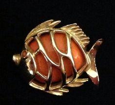Vintage Gerry's Fish Pin Orange Enamel Goldtone Adorable   eBay