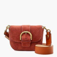 crossbody buckle bag in italian suede : women just in