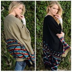REVERSIBLE TASSEL TRIBAL PONCHO  2 ponchos in one!!  A taupe or tan side and a black side. So perfect for this cold weather!  Football games, bonfires, outdoor parties, you name it!  One size. And one left!! Sweaters Shrugs & Ponchos