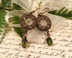 Green Art Deco earrings Art Deco earrings by BulletsBeadsBaubles