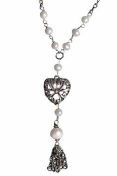 Sterling Silver Genuine Pearl Heart Tassel Necklace Vintage   eBay