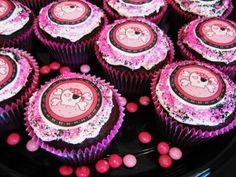 These pretty Pink Skull cupcakes were made using edible cupcake images, sprinkles and hot pink jumbo cupcake liners.  Other party supplies on this page include tableware, decorations, and party favors.