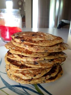 Paleo pancakes  3 Eggs Cinnamon  Berries, about a cup (I used strawberries and blueberries) 1 Banana Heaping T. Almond Butter