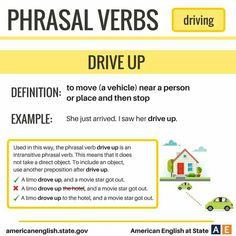 Phrasal Verbs: Driving - Drive Up English Articles, English Tips, English Study, English Lessons, Learn English, French Lessons, Spanish Lessons, English Class, Learn French