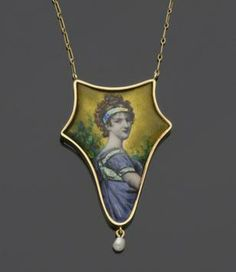 A Limoges enamel and pearl pendant necklace The shaped vari-coloured panel depicting a female profile in neo-classical empire dress, signed to the reverse 'M. Roy, Limoges', suspending a baroque pearl drop below, (pearl untested), on a fine fancy-link chain, pendant length 5.8cm.