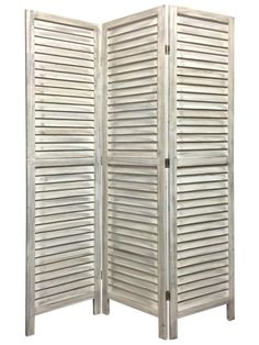 Screen Gems Shutter Screen Room Divider, Washed White @Crowdz