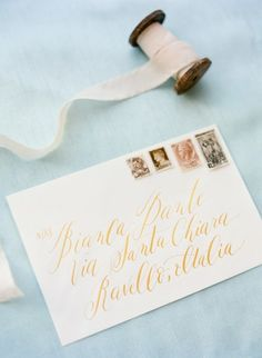 Calligraphy Wedding Invites and Aqua Silk Ribbon | KT Merry Photography | See More! http://heyweddinglady.com/upscale-bohemian-styling-in-aqua-copper-and-mahogany/