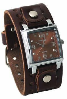 a78cbe8b3be Nemesis  BBB516B Men s Dark Brown Wide Leather Cuff Band Analog Brown Dial  Watch  Watches