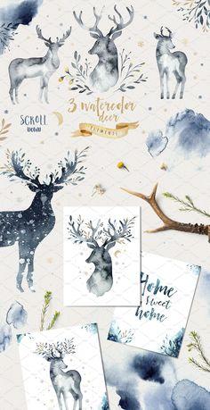Indigo watercolor collection by Peace ART on @creativemarket