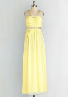 Shine All Mine Dress. You rival the gala's glistening decorations from the moment you arrive with a sunny smile in this gleaming yellow gown. #yellow #prom #modcloth