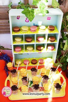 Mesa dulce temática Spa Party Macarons y shots de chocolate o maracuyá - Spa Party dessert table