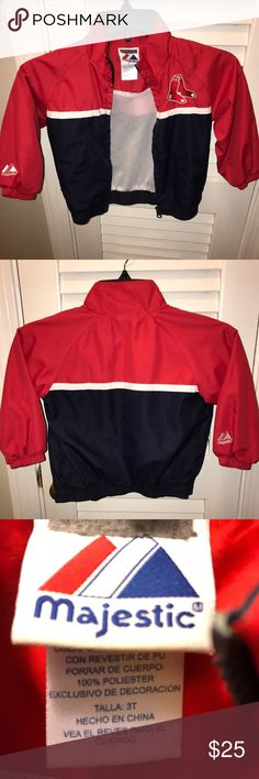 Red Sox Majestic brand windbreaker size 3 toddler Majestic Red Sox windbreaker size 3 toddler. Very good condition see pictures attached Majestic Jackets & Coats