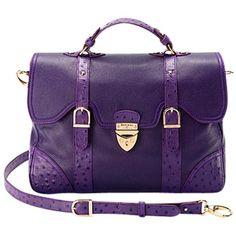 Aspinal of London Mollie Satchel Handbag, Purple ($575) ❤ liked on Polyvore
