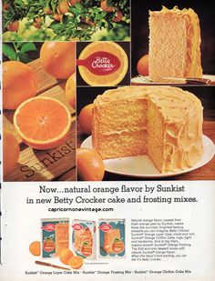 Vintage 1968 Betty Crocker Cake Mix Magazine Ad Sunkist Orange Kitsch Food Advertising Retro Kitchen Decor Collect Frame or use for Crafting by CapricornOneEphemera on Etsy