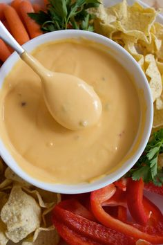 Homemade Nacho cheese sauce -- I used to love this as a kid. Dipping soft pretzels into this. Perfect Superbowl party dip.