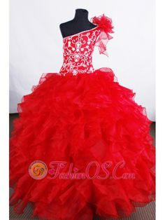 Luxurious Flower Girl Pageant Dress One Shoulder Neckline With Ruffled Layers and Embroidery Decorate Organza- $178.39