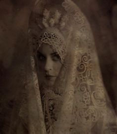 One of the Russian traditional costumes: kokoshnik (the headdress) with a lace veil. Kokoshnik is made of beads and pearls. Very qualified modern work according to the fashion of the early 19th century. Photograph by Vladimir Klavikho-Telepnyov. 2008. #Russian #folk #national #costume