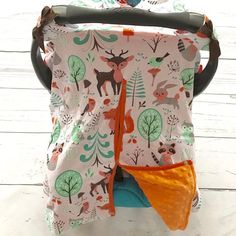 Woodland Minky Canopy Cover For Infant Carseat