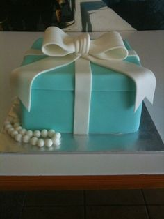 Tiffany Box Cake for her 18th Birthday