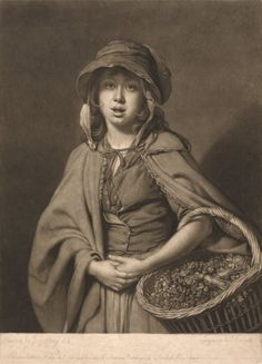 Watercress Girl John Raphael Smith, 1752-1812 from the Yale Center for British Art Detail: girl, street seller, pinned bodice, cape, basket, food, hat, fichu, elbow, pins.