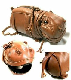 Too bad it's Yen (roughly 709 US dollars). Amazing Hippo Bag by Atelier Iwakiri. Purses And Handbags, Leather Handbags, Leather Bag, Brown Leather, Cute Handbags, Leather Accessories, Fashion Accessories, Sac Week End, Novelty Bags