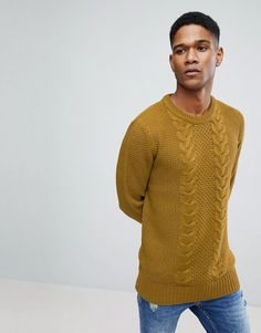 Brave Soul Chunky Cable Knit Sweater - Tan