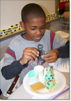 Create Christmas trees from ice cream cones, frosting, and small candies. Yum!