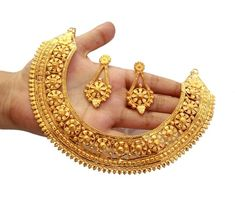 Gold Plated Dubai Style Designer Necklace Set / Gift For Her / Bridal Necklace /Indian Wedding Bridal Necklace, Necklace Set, Bridal Jewelry, Gold Necklace, Silver Jewelry, Dubai Gold Jewelry, Wedding Necklaces, Pandora Necklace, Bridal Bangles