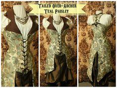 Waist 38-40 Bust 46-49 Teal Paisley Tailed Over-Archer | damselinthisdress - Clothing on ArtFire