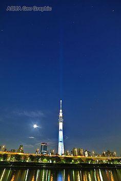 東京スカイツリー ライトアップ 粋  隅田川テラス  Tokyo Sky Tree Light-up