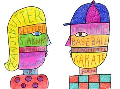 Creative Writing Self Portraits, in the style of Nate Williams. Art Projects for Kids
