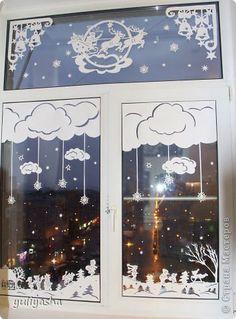 Декор предметов Новый год Аппликация Новогодние окна   Бумага фото 6