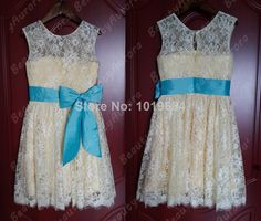 Ivory Lace Flower Girl Dress Yellow Liner  Blue Sash Country Wedding Baby Girls Dress Rustic Baby Girl Dress-in Flower Girl Dresses from Apparel & Accessories on Aliexpress.com