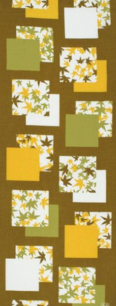 Japanese Tenugui Towel Cotton Fabric Fall Maple Leaves Hand