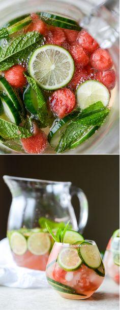 Cucumber Watermelon Sangria I howsweeteats.com