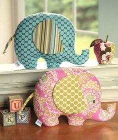 Craftsy - 2 Elephant Softies; I had an elephant exactly like these when I was little.