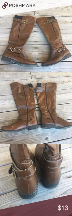 ☀️Sale Time☀️ Brown Riding Boots First picture is an idea. Brown Riding Boots. Worn a few times. Still in excellent condition. Minor mark on top of one toe. Easy fix. Not Buckle. Size 7.5. • No Trades • Price is firm unless bundled • 15% off of bundles of 3 or more • Buckle Shoes
