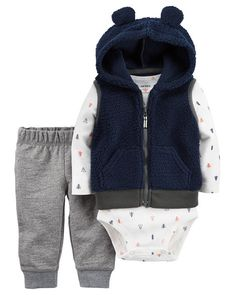 Crafted in plush fleece with a cozy animal ear hood, this vest set is complete with a soft cotton bodysuit and pants.