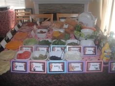 Build your own sandwich bar (each tag had a different game character from the various games in Wreck-It-Ralph)