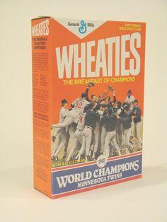 World Champion-Minnesota Twins commemorative Wheaties box. 1987.
