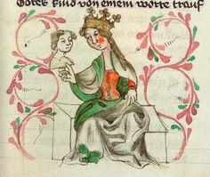 Heinrich <von Mügeln>   Der Meide Kranz — Bayern, 1407 Cod. Pal. germ. 14 Folio 19r