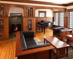 David Lees of Crestwood Designs in Victoria, British Columbia, made most of the  furniture in the living room. The coffee table is a new piece from Stickley.